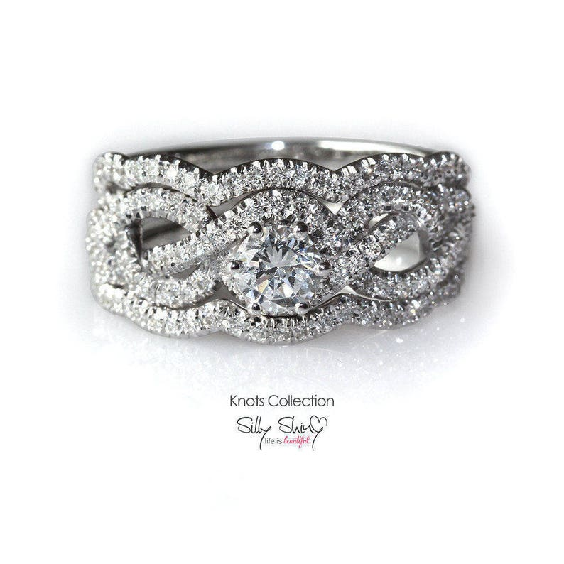 Jewelry & Watches Wedding Leaf Art 2 Carat Round Diamond Engagement Ring 14k White Gold All Size Elegant And Sturdy Package