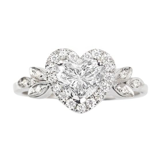 Herz Diamant Ring Engagement Herzform Diamant Halo Cluster Etsy