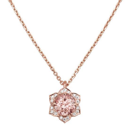 Morganite diamonds flower pendant necklace vintage flower etsy image 0 aloadofball Gallery