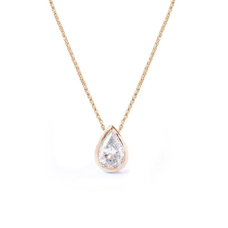 48694b6a8aeaee Pear Diamond Pendant Necklace Teardrop Diamond Bezel Setting | Etsy