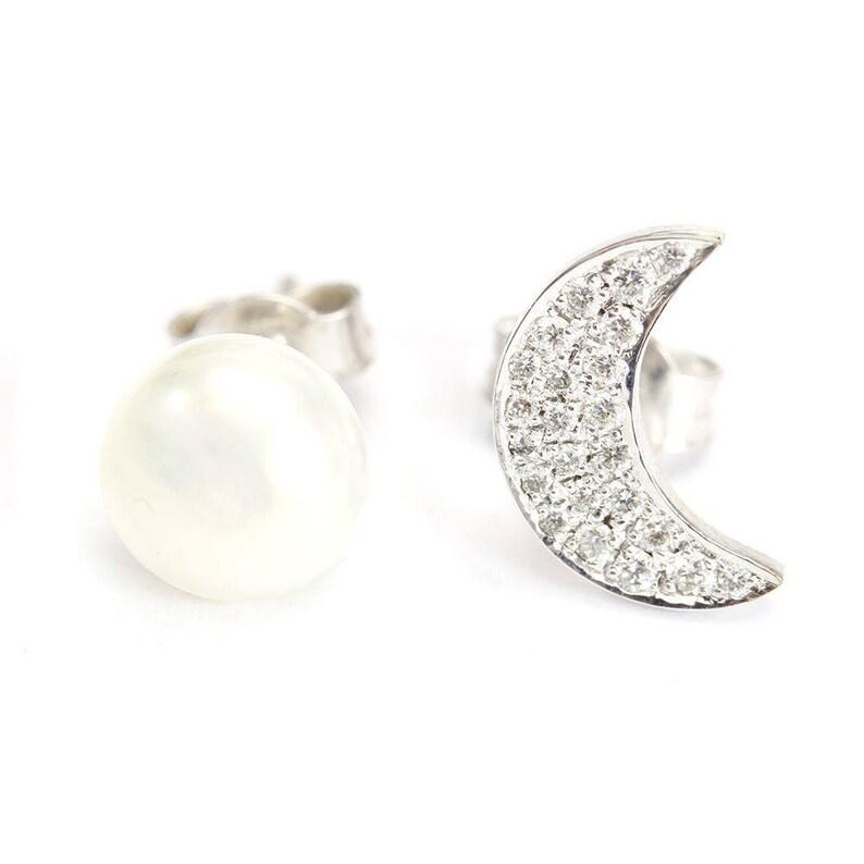 629e6ba68 Diamond & Pearl Stud Earrings Diamond Moon Unique Stud | Etsy