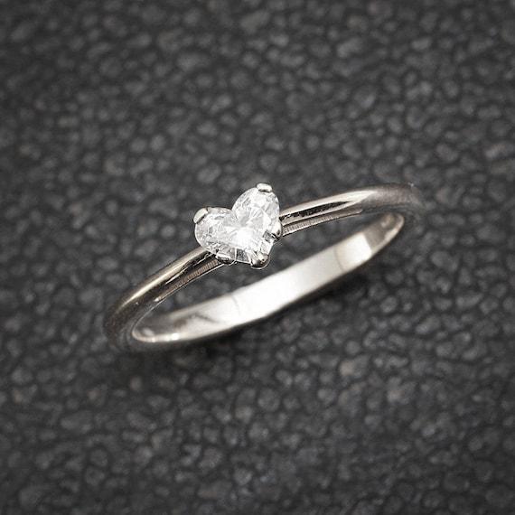 Solitar Verlobungsring Herz Diamant Ring 14k Weissgold Ring Etsy