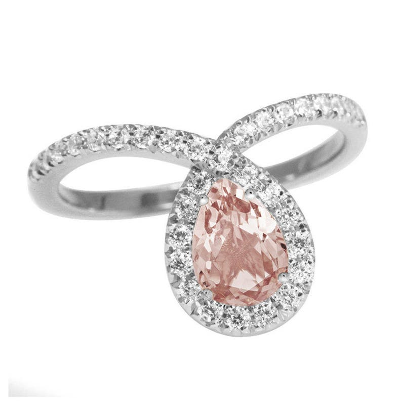 Pear Morganite & Diamond Halo Unique Diamond Engagement Ring image 0