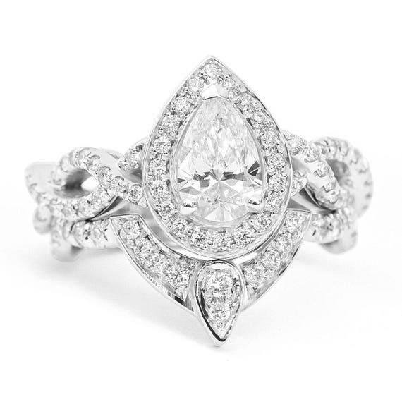 Pear Diamond Wedding Ring Set Unique Pear Diamond Halo Etsy