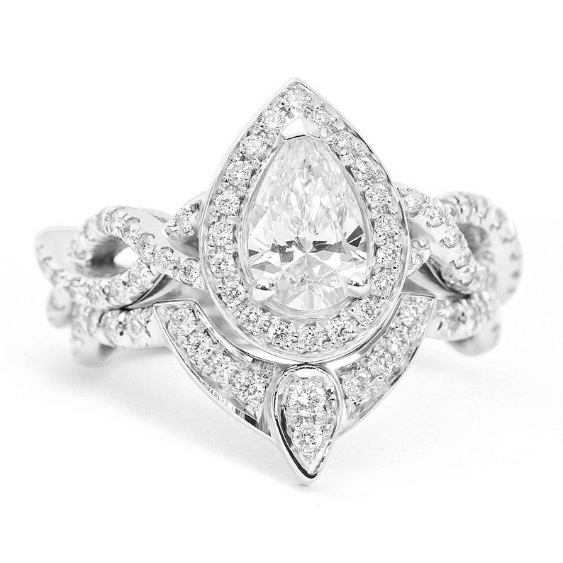 Diamond Wedding Rings.Pear Diamond Wedding Ring Set Unique Pear Diamond Halo Engagement Rings Set 3rd Eye Twist Infinity Diamond Band White Rose Yellow Gold