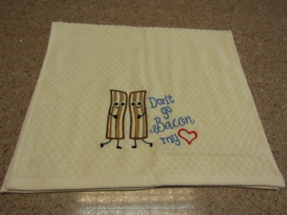Bacon and Egg set of 2 Towels Funny Kitchen Dish Towel Embroidered Dish Cloth