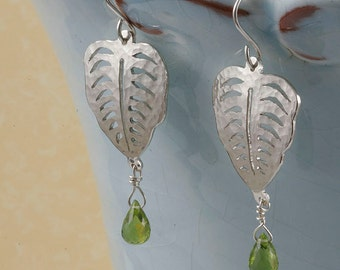 On SALE 20 to 50% off. Tropical leaf sterling silver earrings with peridot