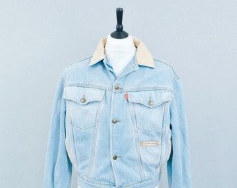 Vintage Bustin Stock Casual Button Blue Denim Jacket Made In Spain Small 34 36