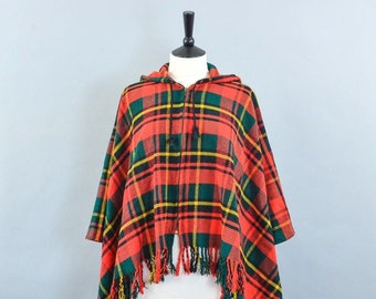Vintage 70's Red Plaid Tartan Checked Wool Poncho With Hood Small UK 8 10