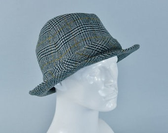 Vintage Men's Grey Wool Blend Fedora Trilby Hat Mad Men XLarge 60cm 24""