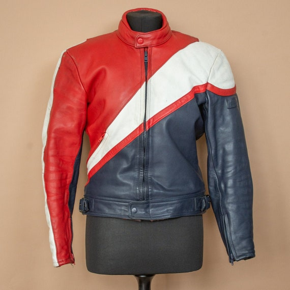 Vintage Polo Blue Red White Leather Biker Jacket M