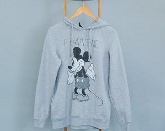Retro Vintage Disney Mickey Mouse Hoodie Grey Cotton Blend Small UK 10 Euro 38 US 6