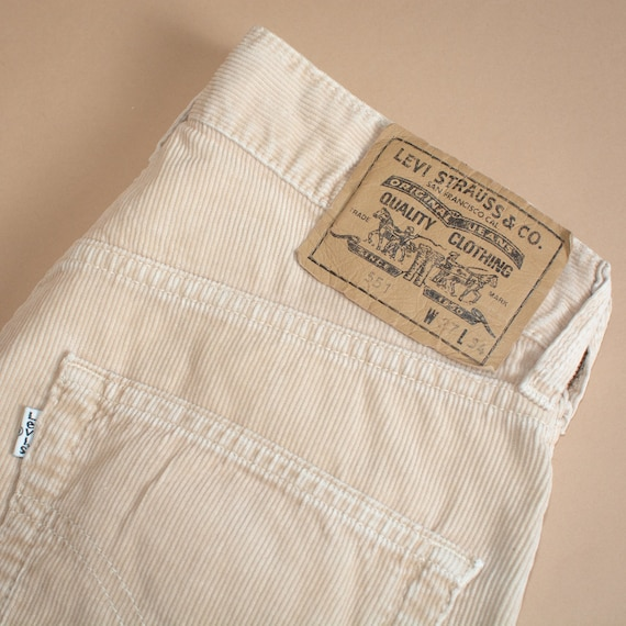 Vintage Levi 551 Jeans Straight Beige Cord Womens