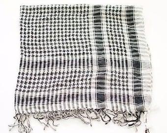 Vintage Large Square Tasseled Arab Shemagh Scarf Black White Boho Festival