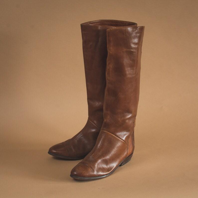 Vintage 80/'s 90/'s Women/'s Leather Heeled Long Calf Boots UK 5.5 EU 38.5 US 7.5