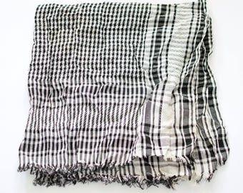 Vintage Large Square Tasseled Arab Shemagh Scarf Black White Boho Festival FREE UK SHIPPING