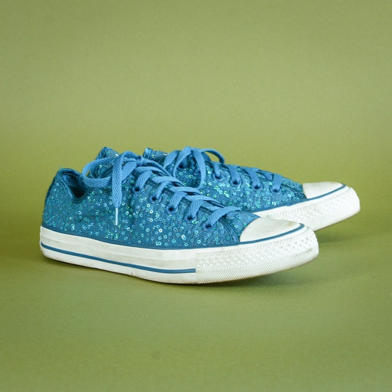 Converse All Star Teal Sequin Canvas Sneakers Trai