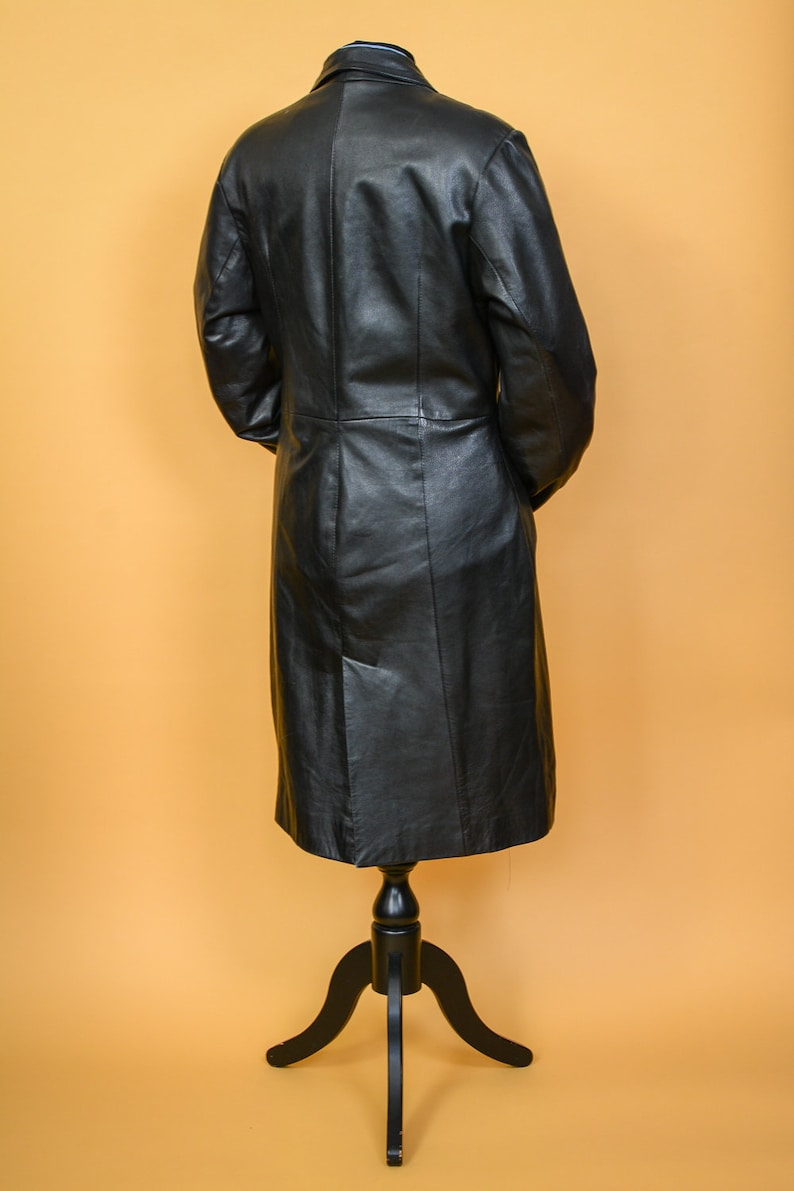 Long Leather Trench Coat Belted Black Women/'s Vintage 80/'s 90/'s Small UK 10 EUR 38 US 6
