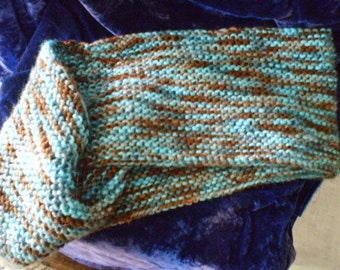 Mobius Cowl,  Blue, Brown and Grey