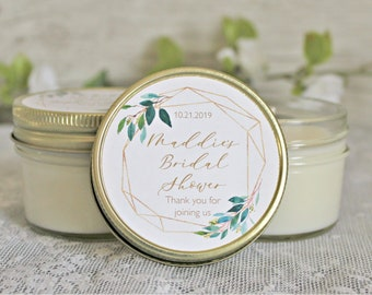 9c7e589d9a4 Greenery   Gold Bridal Shower Favor Candles   Set of 12 - 4 oz. Candle  Favors   Personalized Favors   Elegant Bridal Shower Favors   Custom