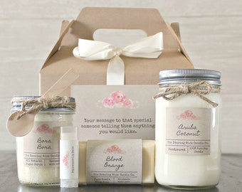 Candle Spa Gift Set For Her Personalized Birthday Bath Basket Hostess Teacher