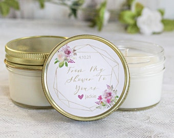 Floral Bridal Shower Favors / Sugar Scrub Favor / Soy Candle Favor / Gold, purple & white / Personalized Favors / Custom Shower Favor