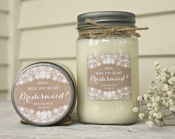 Bridesmaid proposal / Will you be my Bridesmaid Candle / Will you be my Maid of Honor / Bridesmaid Box / Rustic Wedding Gift / Burlap & Lace