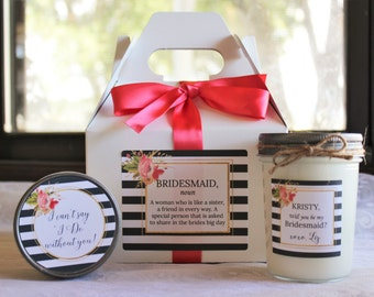 Will You Be My Bridesmaid Gift//Will you be my Maid of Honor Gift//Bridesmaid Candle//Bridesmaid Sugar Scrub//Unique Bridesmaid Gift