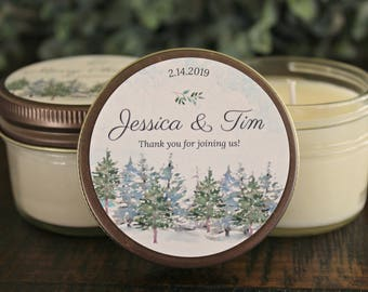 Winter Wedding Favor / Snowy Tree / Set of 12 4 oz candle favors / Winter Wedding Candle / Forest Wedding / Outdoorsy Wedding