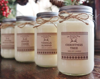 Soy Candle / 16 oz Candle / 8 oz Candle / Mason Jar Candle / Winter Candle / Holiday Sweater Candle / Christmas Candle