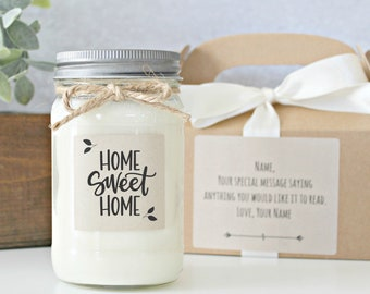 Housewarming gift / Home Sweet Home Soy Candle / New Home Gift / Realtor Closing Gift / First Home Gift / Anniversary / Housewarming Candle