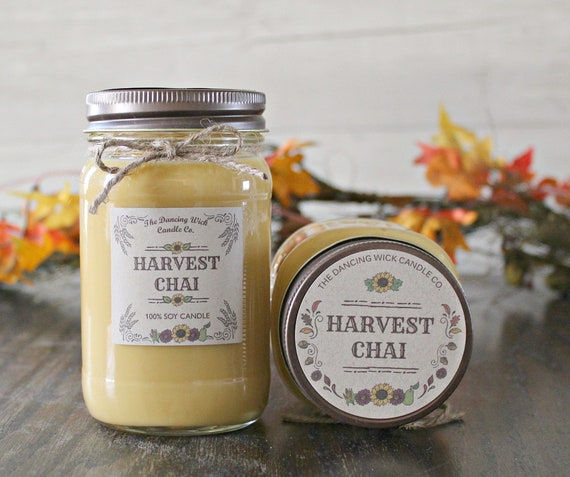 Harvest Chai Pure Soy Candle //Large Pint 16 oz // Half Pint 8 oz  candle/Mason Jar Candle/Hand Poured//Fall Candle//Harvest Candle