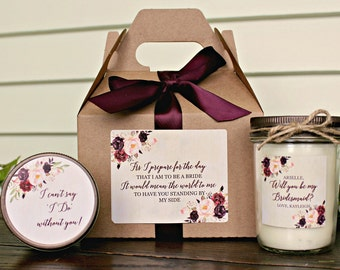 Will You Be My Bridesmaid Gift/ Will you be my Maid of Honor Gift/ Bridesmaid Candle/ Sugar Scrub/ Unique Bridesmaid Gift/ Rose Wedding