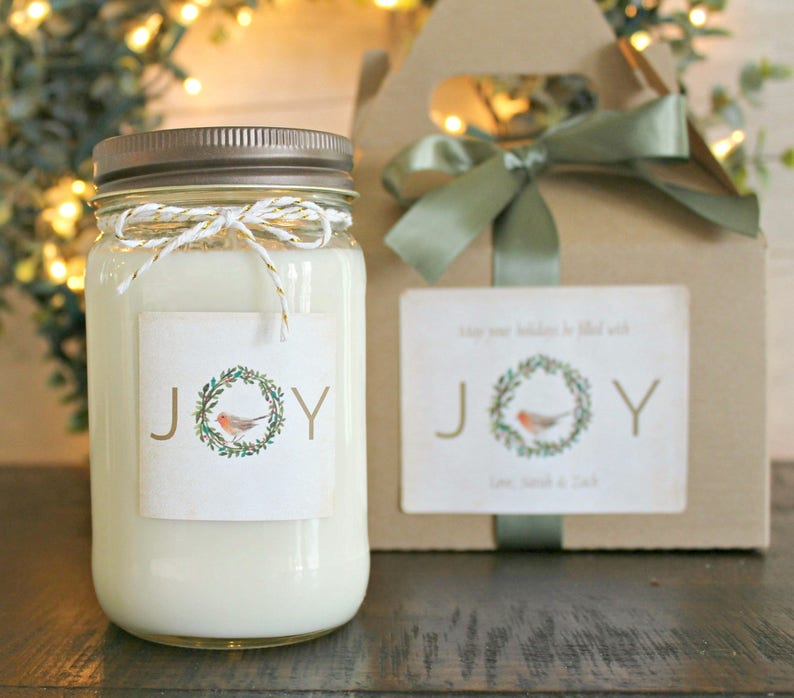 Joy Christmas Candle Personalized Holiday Gift
