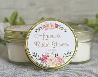 Blush and gold bridal shower favors / Set of 12 - 4 oz candle favors / boho inspired bridal shower / rose favor / boho wedding /