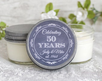 50th Anniversary Party Favors  / Set of 6 - 4 oz candle favors / Anniversary Gift for Parents / Anniversary Gifts /Favors for Guests in Bulk