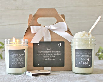 Love you to the moon and back gift box / Valentines Day Gift Set / You Are the Sun the Moon and All my Stars / Girlfriend Gift / Boyfriend