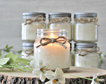 Set of 6 - 8 oz Soy Mason Jar candles / Soy Candles /  Handpoured Candles / Multiple Scents / Container CandleS / Farmhouse Decor