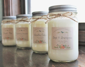 Soy Mason Jar Candle////Choose Your Scent//Container Candle//Spring Candle//16 oz. Candle //8 oz. Candle//Hand Poured//All Natural//