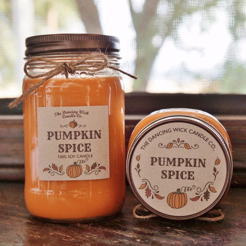 Pumpkin Spice Pure Soy Candle //Large Pint 16 oz.// Half Pint image 0