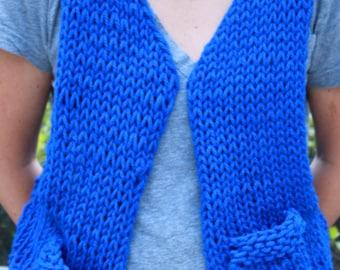 Hand  Knit Designer Vest in Bright Blue in super Bulky Wool