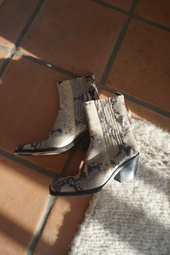 Vintage snakeskin Western Leather Boots