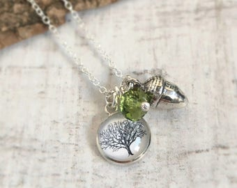 Mighty Oaks From Little Acorns Grow Sterling Silver Charm Necklace - Acorn Necklace - Tree of Life - Nature Lover Jewelry - Teacher Gift