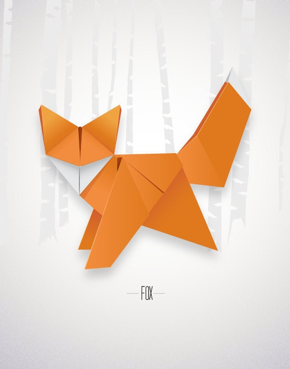 Origami Fox Print Poster Minimal Modern Decor Wall Art Paper Etsy