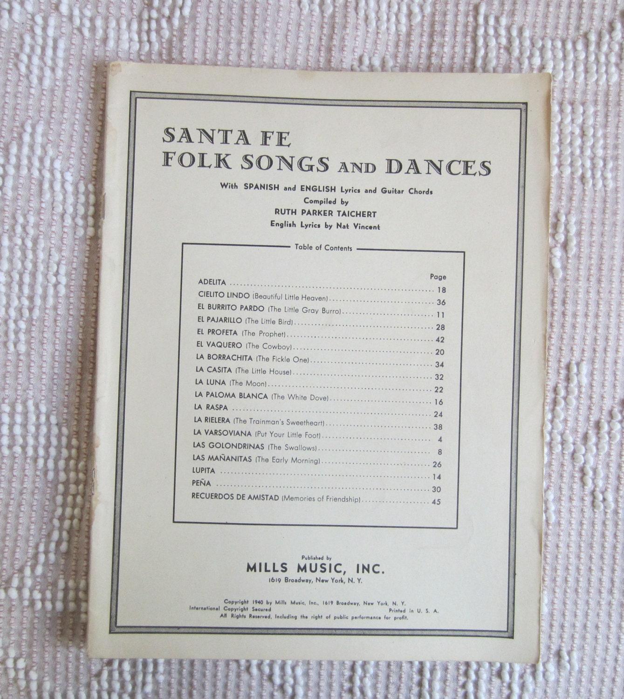 Santa Fe Folk Songs And Dances Vintage Song Book W Spanish Etsy