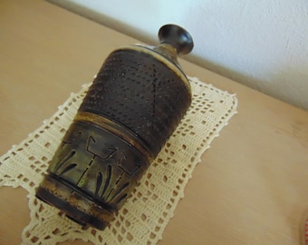 Italian Pottery Vase Brown Gold Green Hand Painted Textured