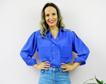 Vintage 80's Retro Royal Blue Gold Button Pleated Pocket Collared Button Up Shirt Blouse Top