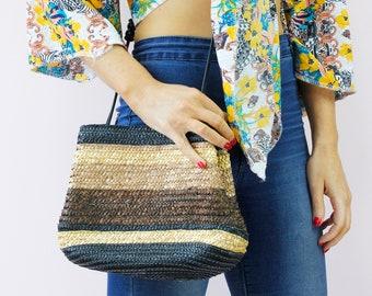 Vintage Wheat Straw Raffia Woven Beach Summer Basket Bag