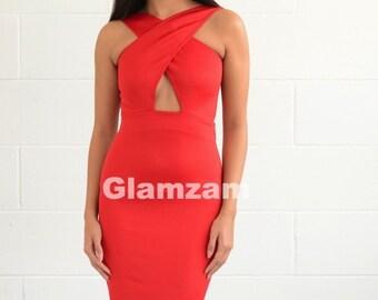 New Womens Ladies Sexy Halterneck Plunge V Neck Backless Pencil Coral Midi  Dress f9227b637