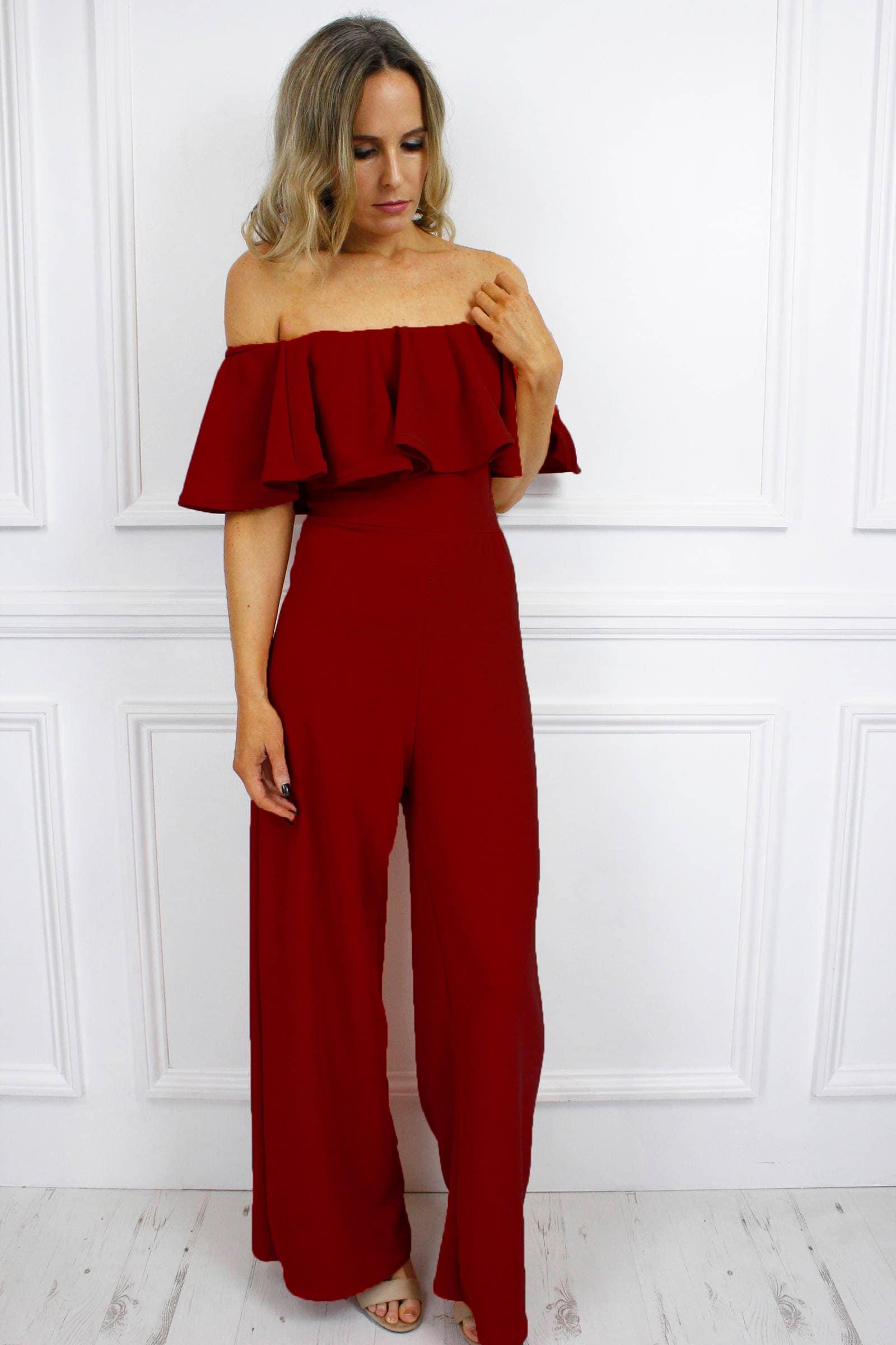 7541871a210 New Womens Ladies Dina Burgundy Bardot Style Off